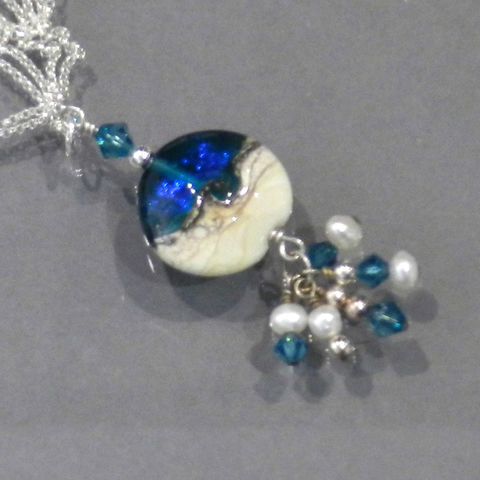 Handmade,Glass,Ocean,Bead,with,Crystals,and,Pearls,Kelley Allen, Ocean, Sea, Flameworked, glass, lampwork, Florida, bead, necklace, pendant, KAbeads