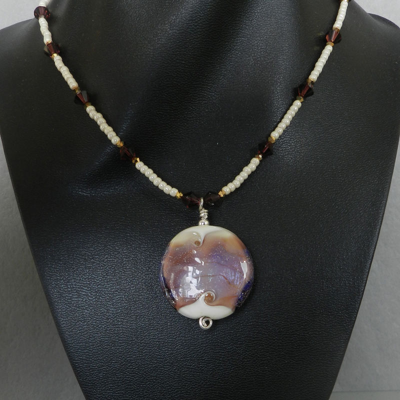 Flame Worked Glass Beaded Necklace in Purple - product images  of