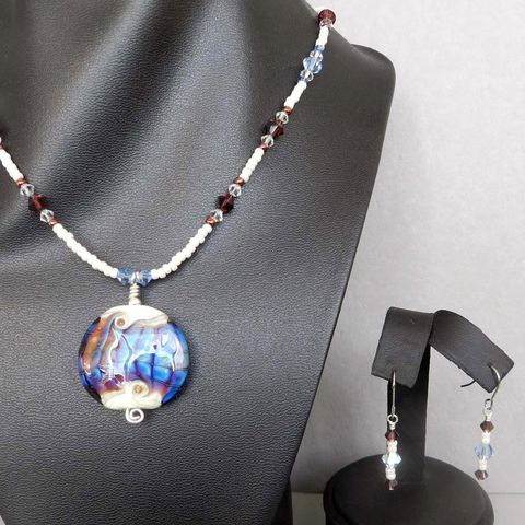 Flame,Worked,Glass,Beaded,Necklace,in,Blue,Flamework, Lampwork, Glass, Necklace, Blue, Copper, Bead, OOAK