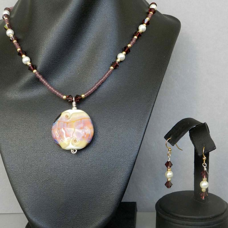 Flame Worked Glass Beaded Necklace in Amethyst - product images  of