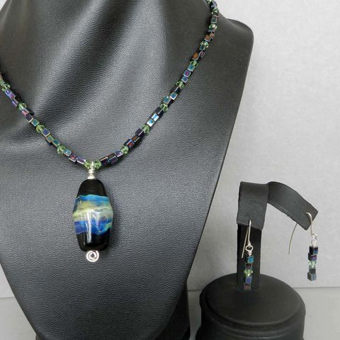 Flame,Worked,Glass,Beaded,Necklace,in,Black,-,2,Flamework, Lampwork, Glass, Necklace, Black, Bead, OOAK