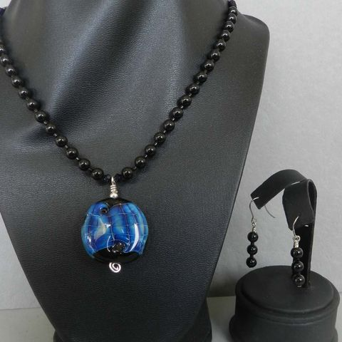 Flame,Worked,Glass,Beaded,Necklace,in,Black,-,1,Flamework, Lampwork, Glass, Necklace, Black, Blue, Bead, OOAK