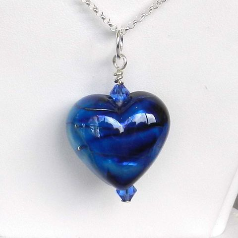 Blue,Heart,Pendant,-,2,Flamework, Lampwork, Glass, Pendant, Blue, OOAK