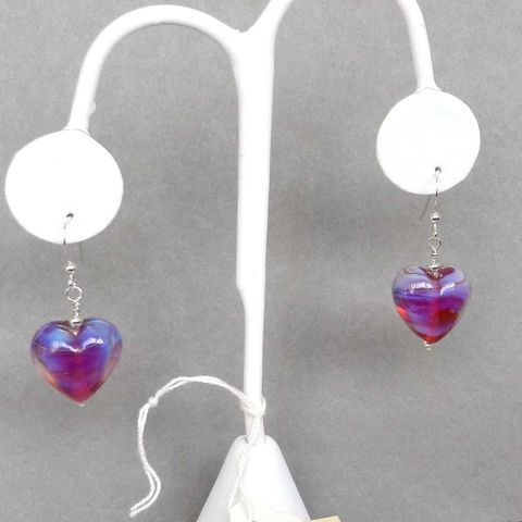 Pink,Heart,Earrings,-,2,Flamework, Lampwork, Glass, Earrings, Pink, OOAK