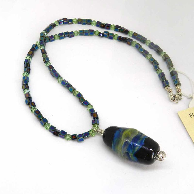 Flame Worked Glass Beaded Necklace in Black - 2 - product images  of