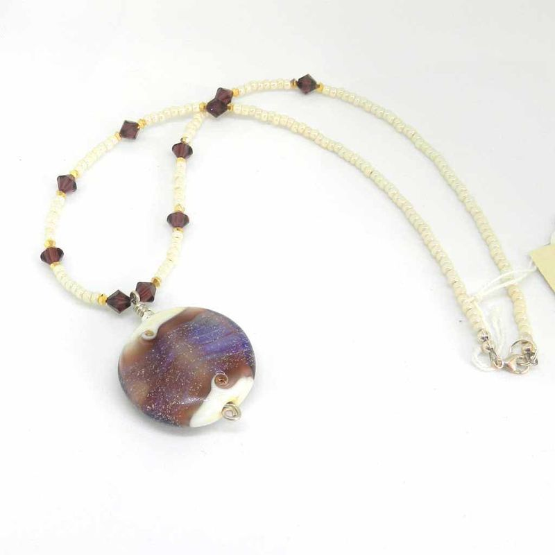 Flame worked glass beaded necklace in purple ka beads flame worked glass beaded necklace in purple product images of aloadofball Choice Image
