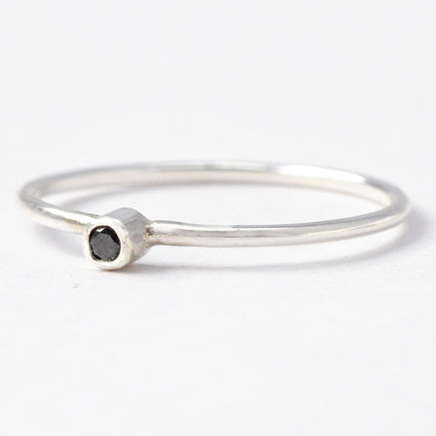 Black,Diamond,&,Sterling,Silver,Ring,Skinny Thin Dainty Tiny Black Diamond Sterling Silver Unique Stacking Alternative Engagement Ring Band Jewelry for Women
