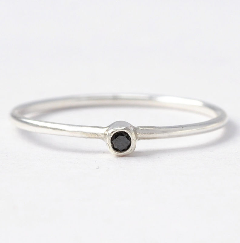 Black Diamond & Sterling Silver Ring - product images  of