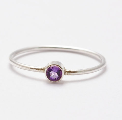Amethyst,Ring,Simple Thin Stacking Purple African Violet Amethyst and Sterling Silver Bezel Set Ring Band February Birthstone Jewelry Gifts