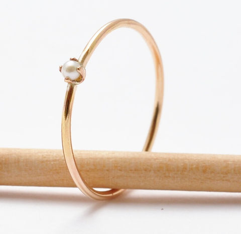 Rose Gold Pearl Ring - product images  of