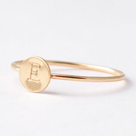 Yellow,Gold,Initial,Ring,Engraved Customized Personalized Monogram Initial Letter Monogrammed Circle Disc 14K Yellow Gold Filled Stackable Ring Jewelry