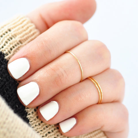 Whisper,Thin,10K,Yellow,Gold,Ring,Whisper Thin Skinny Small Delicate Slim Plain Midi Knuckle Solid 10K Yellow Gold Hipster Boho Ring Bands for Teens Teenage Girls