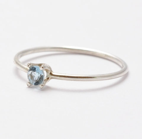 Aquamarine,Ring,Simple Thin Solitaire Natural Light Blue Aquamarine and 925 Sterling Silver March Birthstone Stacking Ring Jewelry Gift Ideas