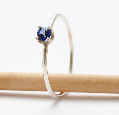 3mm,Sapphire,Ring,Simple Solitaire September  Birthstone Prong Setting Natural Genuine Real Blue Sapphire and 925 Sterling Silver Stackable Stack Ring Gifts