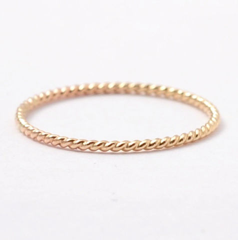 14K,Braided,Yellow,Gold,Ring,Thin Skinny Solid 14K Yellow Gold Braided Rope Twist Women's Wedding Ring Band Present Ideas