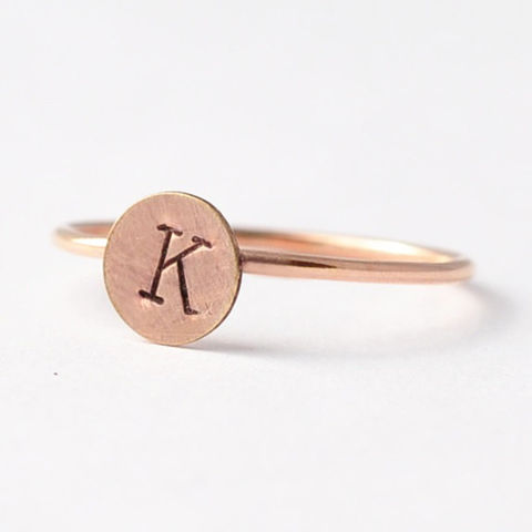 Rose,Gold,Initial,Ring,Engraved Customized Personalized Monogram Initial Letter Monogrammed Circle Disc 925 14K Rose Gold Filled Stackable Ring Jewelry
