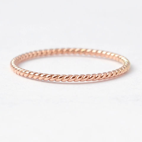 14K,Braided,Rose,Gold,Ring,Thin Skinny Solid 14K Rose Gold Braided Rope Twist Women's Wedding Ring Band Present Ideas