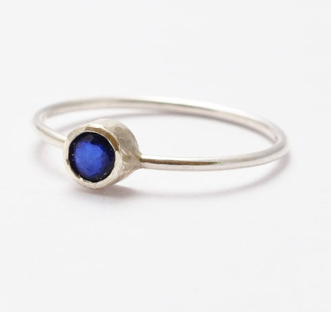 4mm,Sapphire,Ring,Simple Thin Tiny Solitaire Natural Genuine Real Blue Sapphire 925 Sterling Silver September Birthstone Stacking Ring Jewelry Birthday Gift Ideas for Women