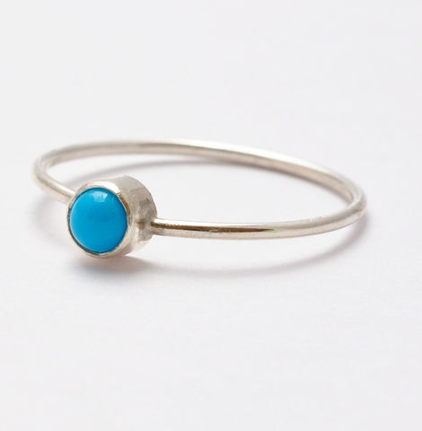 4mm,Turquoise,Ring,Simple Solitaire December Birthstone Bezel Setting Sleeping Beauty Turquoise  and 925 Sterling Silver Stackable Stack Ring Gifts