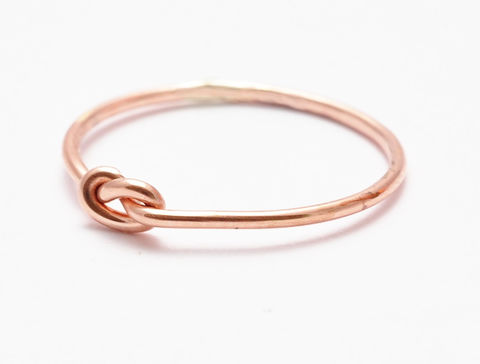 Rose,Gold,Knot,Ring,Handmade Etsy Tie The Knot Eternity Memory Friendship Best Friends BFF Minimalist Thin Nautical 14K Rose Gold Filled Midi Stacking Ring Bridal Bridesmaid Gift Jewelry