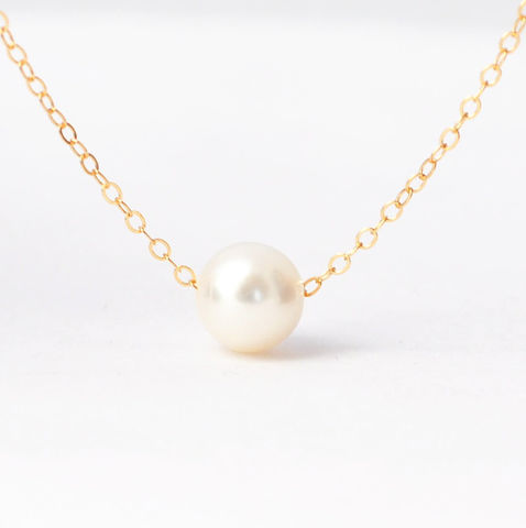 Pearl,Necklace,Simple Single Floating Genuine Real Freshwater Cultured White Pearl Drop and Sterling Silver Yellow Rose Gold Filled Thin Chain Dainty Necklace Jewelry