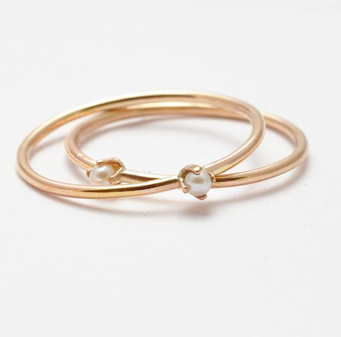 Yellow,Gold,Pearl,Ring,Tiny Small Solitaire White Freshwater Pearl and 14K Yellow Gold Filled Thin Stackable Stacking Ring Band June Birthstone Jewelry Gifts for Her