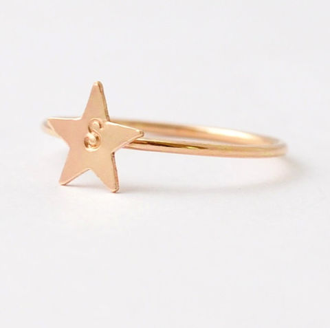 Star,Initial,Ring,Custom Personalized Engraved Engravable Monogram Initial 14K Yellow Gold Filled Start Ring Cool Gifts for Teens