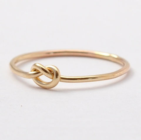 14K,Gold,Promise,Ring,Thin Dainty Delicate Solid 14K Yellow Gold Forget Me Tie the Love Knot Promise Wire Rings for Women