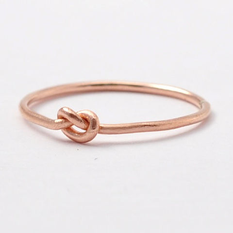 14K,Rose,Gold,Knot,Ring,Skinny Slim Small Thin Forget Me Tie The Love Knot Solid 14K Rose Gold Promise Ring Band for Women Bridesmaid Gifts