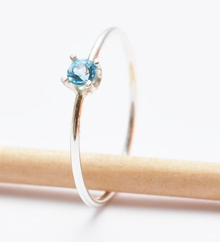 Blue,Topaz,Ring,Simple Solitaire Swiss Blue Topaz November Birthstone Thin Sterling Silver Stacking Ring Jewelry Gift Ideas