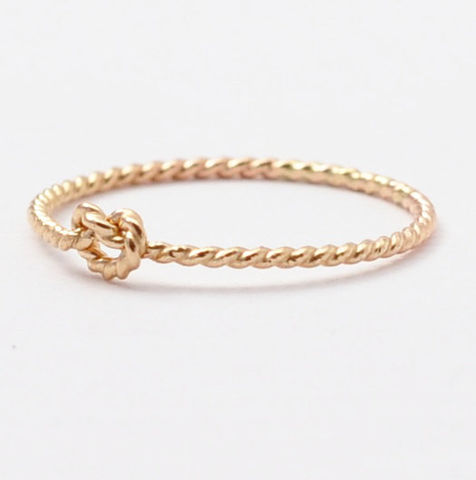 14K,Braided,Knot,Ring,Thin Slim Skinny Dainty Delicate Tiny Thin Forget Me Tie the Love Knot 14K Yellow Gold Braided Rope Twist Promise Ring
