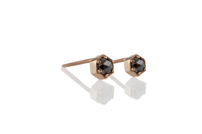 Rose Cut Black Diamond Hexagon Earrings - product images  of