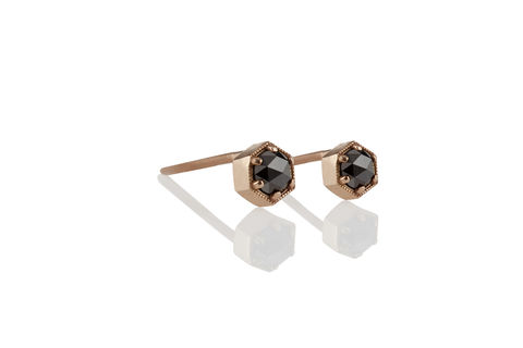 Rose,Cut,Black,Diamond,Hexagon,Earrings,Minimalist Edgy Geometric Hexagon Setting Rose Cut Black Diamond 14K Rose Gold Stud Post Earrings Jewelry