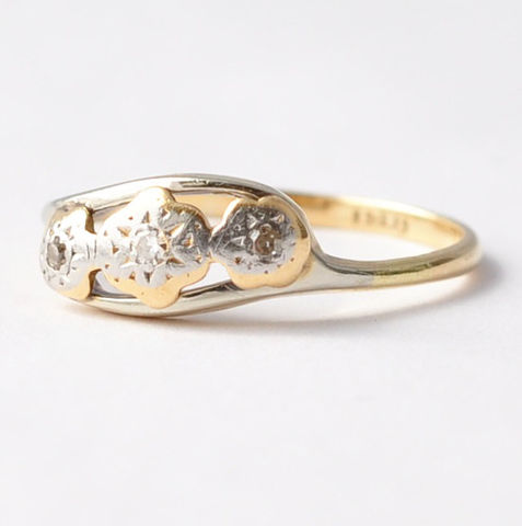 Estate,Diamond,Rings:,Antique,18K,Gold,,Size,8.25/8.5,Art Deco Estate Trilogy Past Present Future 3 Stone Diamond Trio 18K White Gold Anitque Anniversary Ring Gifts for Wife