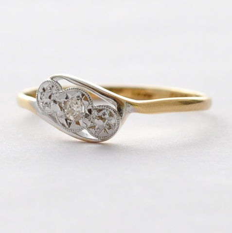 Diamond,Ring:,18K,Gold,&,Platinum,,Size,7,10 Year Anniversary Art Deco Solitaire Diamond 18K Gold and Platinum Ring Jewelry Birthday Gifts for Wife
