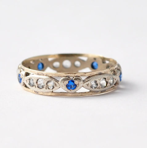 Vintage,Promise,Ring:,Heart,Shaped,Sapphires,,Diamond,Pastes,,Silver,&,9K,Gold,,Size,7.75,Affordable Inexpensive Vintage Paste Heart Shaped Sapphire and Diamond Silver Eternity Promise Ring Band Gifts for Girlfriend Under 150 Dollars