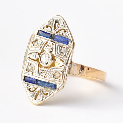 Sapphire,and,Diamond,Shield,Ring:,Antique,18K,Gold,&,Platinum,,Size,4.25, Antique Art Deco Diamond and Synthetic Sapphire 18K Gold Filagree Shield Statement Cocktail Engagement Ring Jewelry