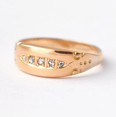 Engagement,Bands:,Victorian,Diamond,&,9K,Yellow,Gold,,Size,5.25,Victorian Era Five Diamond 9K Yellow Gold Antique Women's Anniversary Engagement Wedding Band Ring Jewelry Gifts for Wife