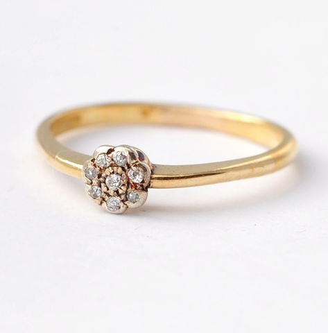 Unique,Diamond,Engagement,Ring:,Art,Deco,14K,Gold,,Size,8.75,Unique Dainty Art Deco Cluster Diamond Daisy Flower 14K Yellow Gold Antique Promise Engagement Ring