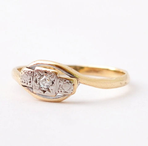 Diamond,Engagement,Rings:,Art,Deco,Diamond,,9K,Gold,&,Platinum,,Size,7,Unique Antique Solitaire Diamond 9K Yellow Gold Platinum Art Deco Engagement Rings Jewelry Gifts for Wife