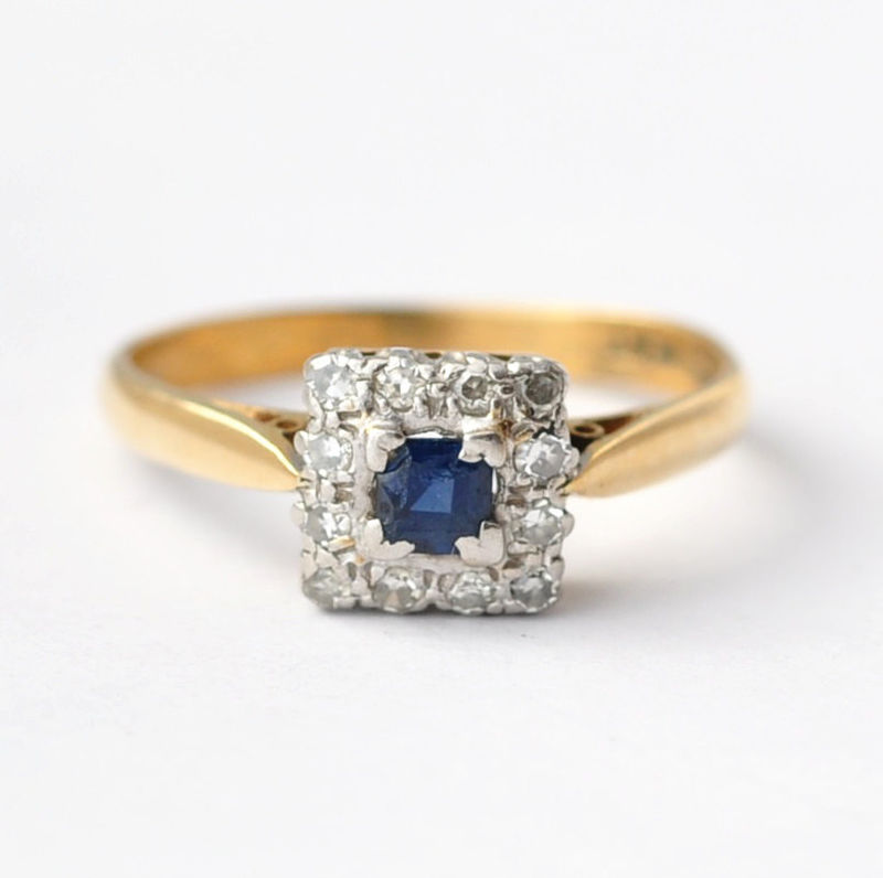 Diamond and Sapphire Engagement Rings: Art Deco 18K Gold & Platinum, Size 7.25 - product images  of