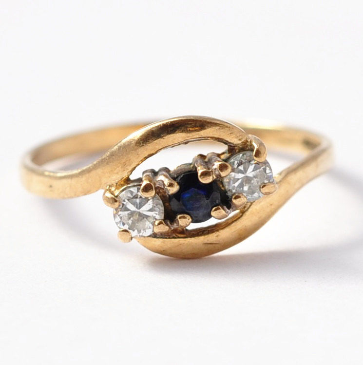 Promise Rings for Her Vintage Sapphire Diamond Paste & 9K Gold Size 5