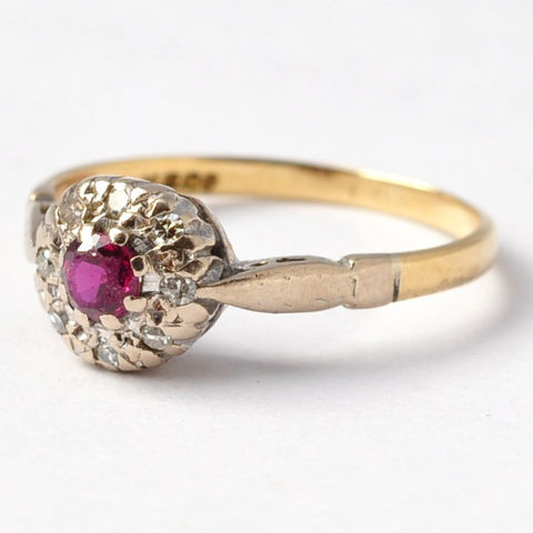 Ruby,Rings:,Antique,Diamond,Halo,,18K,Gold,&,Platinum,,Size,5.5,/,5.75,Art Deco Natural Genuine Round Ruby and Diamond Halo Cluster 18K Gold Platinum Alternative Unique Engagement Rings Gifts for Women Her