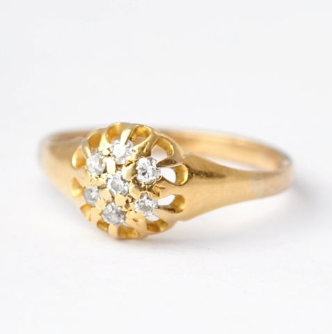 Victorian,Engagement,Rings:,Diamonds,&,18K,Gold,,Size,6.5,Victorian Antique Estate Diamond Cluster 18K Yellow Gold Flower Cocktail Alternative Engagement Rings Jewelry