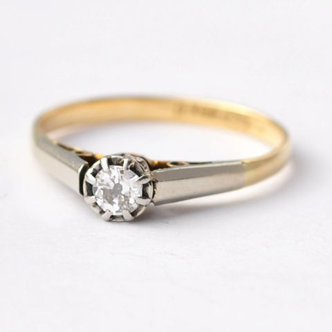 Antique,Engagement,Rings:,Diamond,&,18K,Gold,,Size,5.75,Old Cut White Round Diamond Solitaire Art Deco Antique 18K White Yellow Gold Simple Engagement Ring