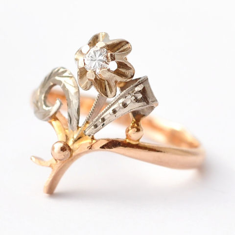 Art,Nouveau,Rings:,Diamond,&,14K,Gold,,Size,6.75/7,Art Nouveau 1920s Unusual Unique Flower Floral Diamond Solitaire Cocktail Statement Ring for Women Anniversary Gifts Ideas