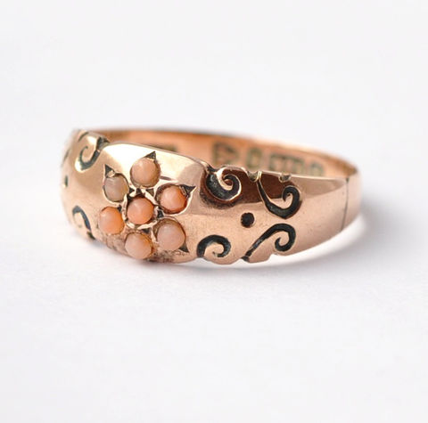 Victorian,Jewelry:,Coral,&,9K,Gold,,Size,5.75,/,6,Victorian Antique Flower Daisy Coral 9K Gold Anniversary Ring Jewelry Gifts for Wife Mothers Day Ideas
