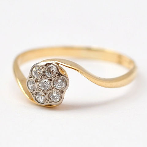 Fake,Diamond,Rings:,Art,Deco,18K,Gold,,Size,6,Antique Art Deco Fake Paste Diamond Flower Daisy Cluster 18K Gold Alternative Engagement Ring