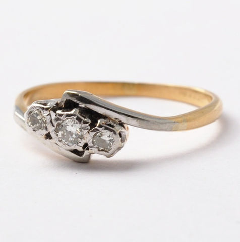 Three,Stone,Diamond,Ring:,Art,Deco,18K,Gold,&,Platinum,,Size,7.75,Antique Art Deco Past Present Future 3 Three Stone Diamond 18K Gold Trilogy Anniversary Ring