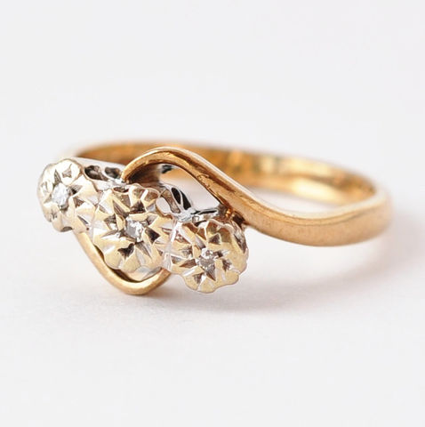 Diamond,Anniversary,Ring:,Vintage,9K,Gold,,Size,5.5,Vintage Past Present Future 3 Three Stone Diamond 9K Gold 10 Year Anniversary Birthday Ring Jewelry Gifts for Wife